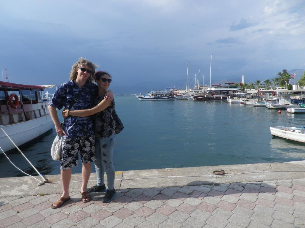 Billy and Aynur at Fethiye Harbour
